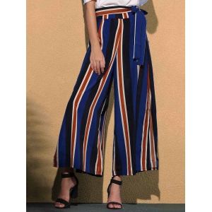 Stiped Wide Leg Palazzo Pants With Slits - Colormix - Xl