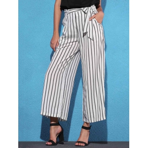 Striped Self Tie Palazzo Pants with Pockets - WHITE AND BLACK L