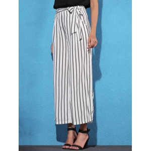 Striped Self Tie Palazzo Pants with Pockets - WHITE/BLACK S