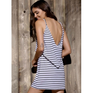 Flounce Backless Summer Striped Casual Dress -