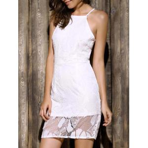 Elegant Spaghetti Strap Sleeveless Lace Spliced Hollow Out Bodycon Mini Dress For Women - White - Xl