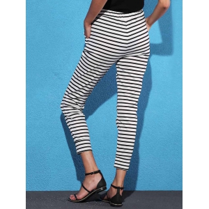 Striped Sweat Jogger Pants - WHITE AND BLACK S