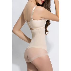 Chic High Waisted Solid Color See-Through Briefs For Women -