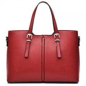 Concise Solid Color and Buckles Design Tote Bag For Women - Wine Red - 41