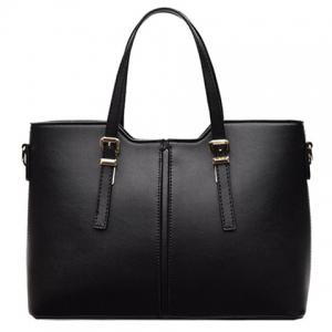 Concise Solid Color and Buckles Design Tote Bag For Women - Black