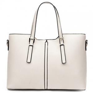 Concise Solid Color and Buckles Design Tote Bag For Women - Off-white