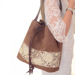 Simple Floral Print and Canvas Design Beach Shoulder Bag -