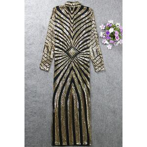 Stylish Stand Collar Long Sleeve See-Through Sequined Dress For Women -