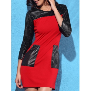 Trendy Round Collar 3/4 Sleeve Leather Spliced Pocket Design Women's Dress