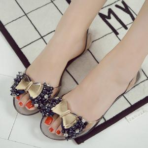 Sweet Bowknot and Rhinestones Design Sandals For Women -