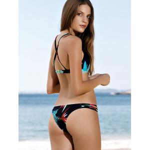Spaghetti Strap Leaf Print Scoop Bikini Set - BLACK L