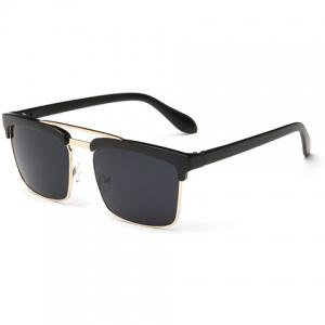 Trendy Black Brow Quadrate Frame Sunglasses -