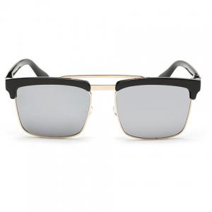 Trendy Black Brow Quadrate Frame Sunglasses - Silver - One Piece