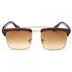 Trendy Tea-Colored Brow Quadrate Frame Sunglasses - Tea-colored - M