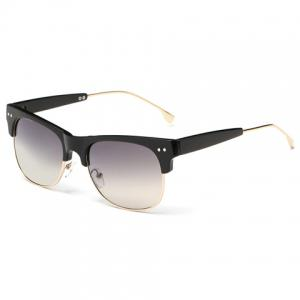 Trendy Metal Frame Splicing Design Black Sunglasses - Black - M