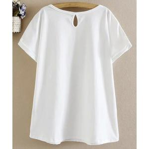 Chic Round Collar Short Sleeve White Flower Pattern T-Shirt For Women -