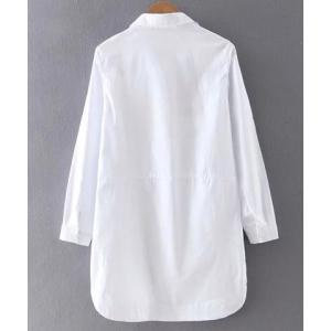 Leisure Style Shirt Collar Long Sleeve Geometric Embroidered Mini Dress For Women -