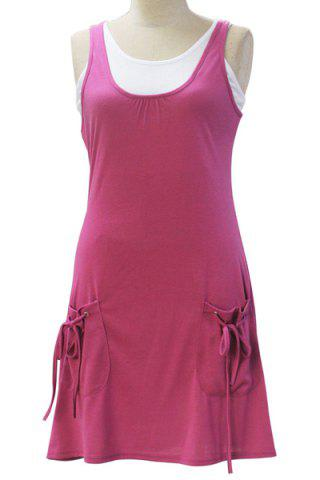 Outfits Chic Sleeveless White Tank Top + Pocket Design Solid Color Dress Women's Twinset