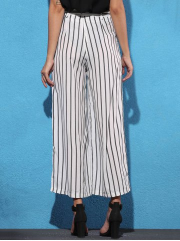 Outfit Striped Self Tie Palazzo Pants with Pockets - XL WHITE AND BLACK Mobile