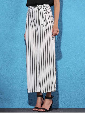 Unique Striped Self Tie Palazzo Pants with Pockets - M WHITE AND BLACK Mobile