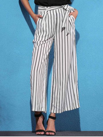 Store Striped Self Tie Palazzo Pants with Pockets - M WHITE AND BLACK Mobile