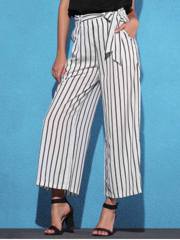 Shop Striped Self Tie Palazzo Pants with Pockets - M WHITE AND BLACK Mobile