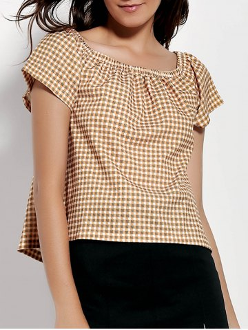 Best Stylish Off-The-Shoulder Short Sleeve Gingham Loose T-Shirt For Women