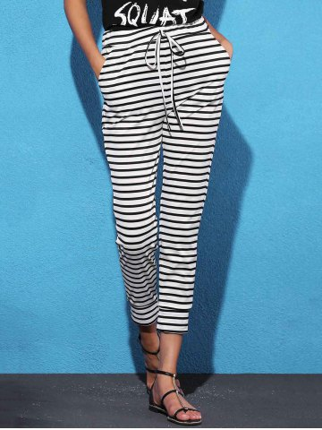 Trendy Striped Sweat Jogger Pants WHITE AND BLACK S