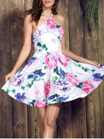 Chic Spaghetti Strap Floral Backless Skater Summer Dress PINK M