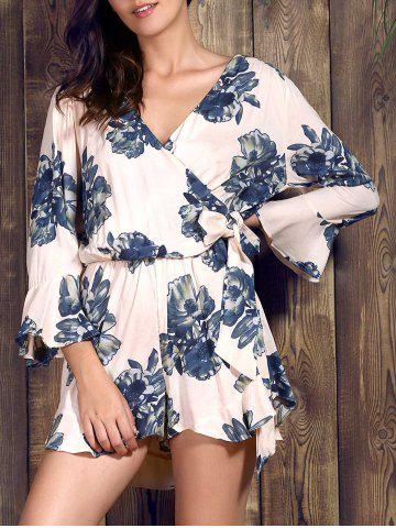 Sale Charming V Neck 3/4 Sleeve Floral Print Loose Self-Tie Wrap Romper For Women