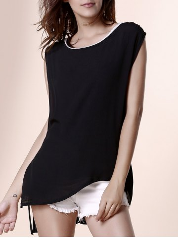 Unique Stylish Scoop Neck Sleeveless Irregular Layered Black and White Spliced Tank Top For Women