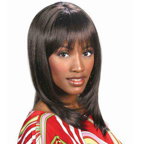 Medium Silky Straight Capless Full Bang Synthetic Wig