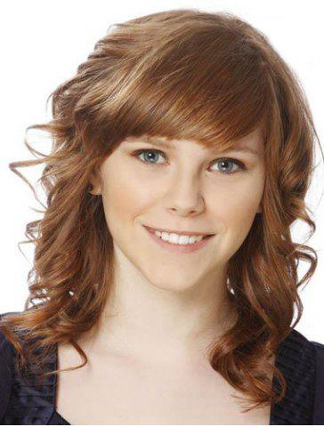 Affordable Charming Medium Side Bang Capless Fluffy Curly Golden Brown Synthetic Wig For Women