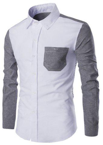 Affordable Turn-Down Collar Color Block Spliced Stripe Print Long Sleeve Shirt For Men GRAY M