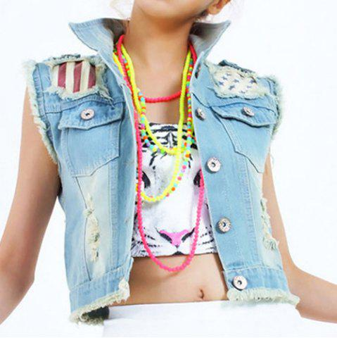 Outfit Stylish Lapel Collar Sleeveless Ripped Denim Vest For Women