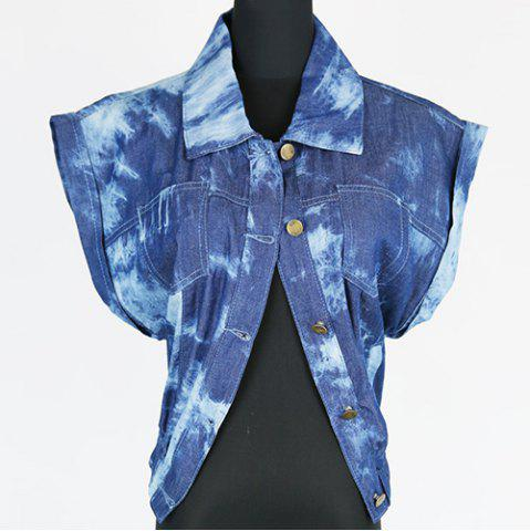 Outfits Fashionable Lapel Collar Hemming Sleeves Vest For Women