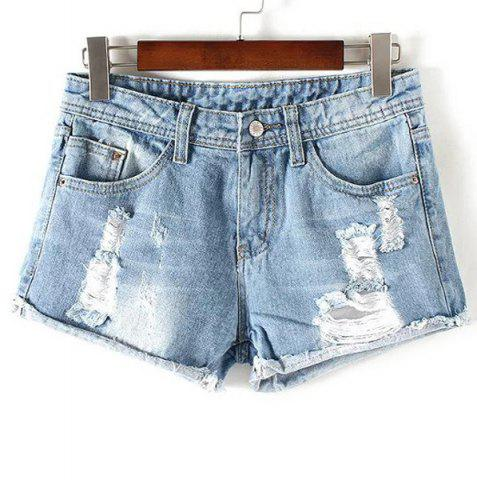 Outfit Stylish Destroy Wash Frayed Low Waist Denim Jeans Shorts For Women