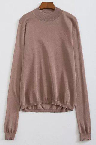 New Brief Style Stand-Up Collar Long Sleeve Solid Color See-Through Knitwear For Women