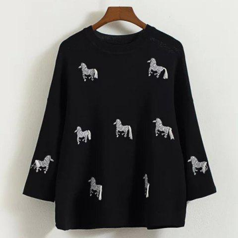 Chic Cute Round Neck 3/4 Sleeve Horses Embroidered Knitwear For Women