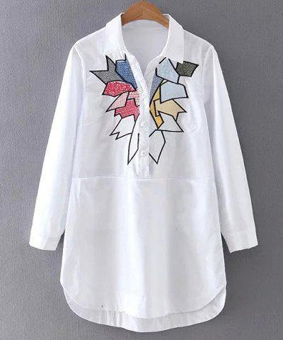 Best Leisure Style Shirt Collar Long Sleeve Geometric Embroidered Mini Dress For Women