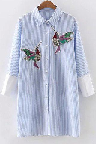 Online Stylish Shirt Collar 3/4 Sleeve Striped Bird Embroidered Animal Dress For Women BLUE M