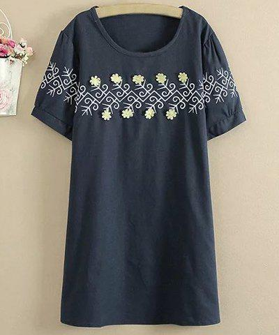 Store Sweet Style Round Collar Short Sleeve Flower Embellished Loose Mini Dress For Women