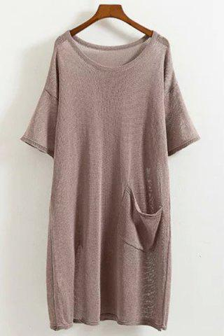 Outfits Leisure Style Scoop Neck Half Sleeve Solid Color Pocket Knitted Dress For Women