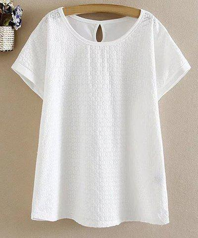 Fashion Chic Round Collar Short Sleeve White Flower Pattern T-Shirt For Women