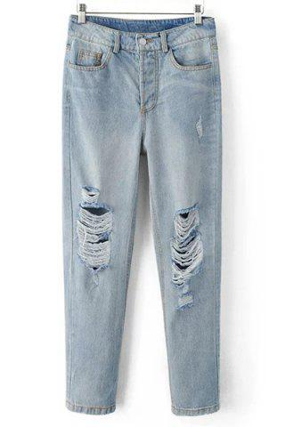 Best Boyfriend Style Mid Waist Zipper Fly Blue Ripped Jeans For Women DENIM BLUE L