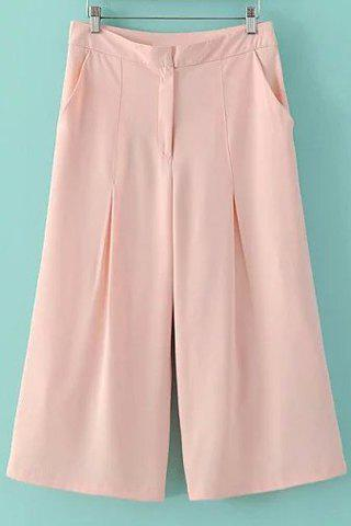 Trendy Fashionable High Waist Solid Color Loose-Fitting Capri Pants For Women