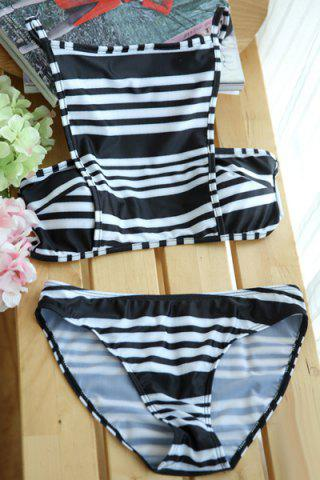 Cheap Fashionable Spaghetti Strap Striped Color Block Women's Bikini Set