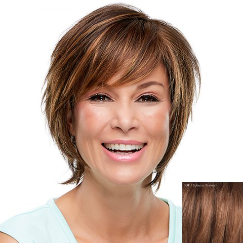 New Fashion Multicolor Short Capless Fluffy Natural Straight Side Bang Human Hair Wig For Women
