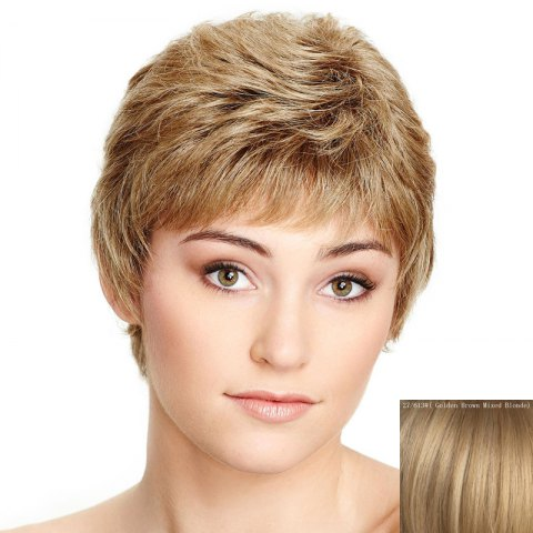 Spiffy Ultrashort capless Shaggy naturel Vague Side Bang perruque de cheveux humains pour les femmes / Brown d'Or avec Blonde