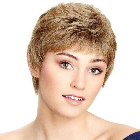 Cheap Spiffy Ultrashort Capless Shaggy Natural Wave Side Bang Human Hair Wig For Women - GOLDEN BROWN WITH BLONDE  Mobile